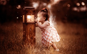 Картинка фон, девочка, светильник