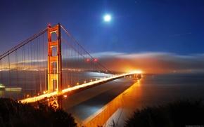 Картинка Море, Город, Река, Огни города, Океон, Мость, Речка над мостом