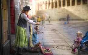 Картинка улица, куклы, люди, город, марионетки