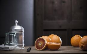 Картинка стол, апельсины, нож, натюрморт