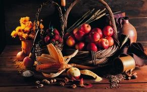 Картинка яблоки, кукуруза, клубника, Корзина, орехи