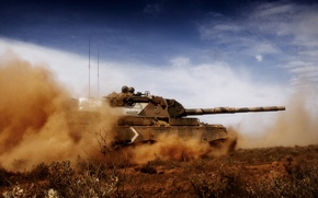 Обои небо, пыль, леопард, танк, Leopard