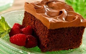 Картинка зелень, ягоды, малина, еда, шоколад, тарелка, пирожное, крем, десерт, вкусняшка, вкусно, ням-ням )))