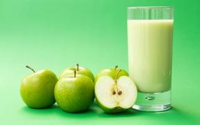 Картинка фон, обои, яблоки, apple, яблоко, еда, молоко, зеленые, wallpaper, широкоформатные, background, полноэкранные, HD wallpapers, milk, …