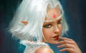 Обои эльфийка, взгляд, фантастика, арт