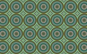 Обои круги, зеленый, узор, орнамент