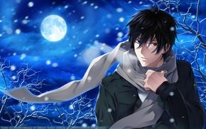Обои Psychic Detective Yakumo, луна, ночь, снег, шарф, парень, аниме