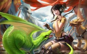 Картинка лакомство, драконы, игра, арт, палочка, рыбка, наушники, девушка, эмоции, sakimichan, смех