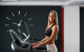 Картинка smile, blonde, gym, treadmill workout