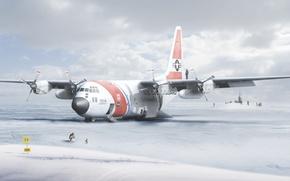 Картинка табличка, Самолет, пингвин, Антарктида