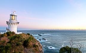 Картинка море, небо, восход, маяк, Австралия