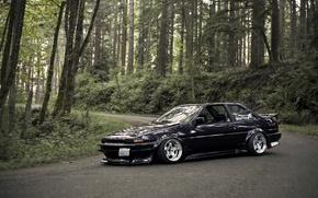 Картинка лес, черная, Toyota, black, тойота, AE86, stance, королла, JDM, Corolla