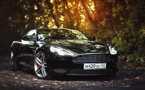 Картинка Aston Martin, Car, Front, Black, Sun, Super, Virage