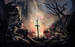 Картинка Night, Dark Souls, S.T.A.L.K.E.R., Atmosphere, Bonfire, Praise the sun, Do you even praise the sun