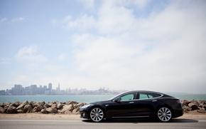 Картинка камни, берег, Tesla, электрокар, model s