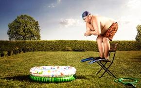 Картинка мужик, бассейн, ласты