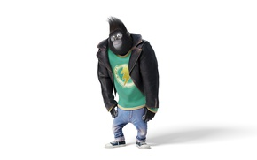 Картинка cinema, movie, gorilla, film, Johnny, official wallpaper, Universal Pictures, animated movie, Illumination Entertainment, Taron Egerton, …