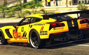Картинка жёлтый, Corvette, Chevrolet, день, сзади, GTA 5, 2015, C7R