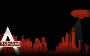 Картинка город, batman, дирижабль, постер, arkham city