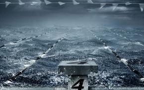 Обои волны, число, шторм, дорожки, бассейн