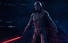Картинка меч, злодей, star wars, Darth Vader, плащ, световая сабля