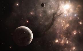 Картинка космос, планеты, спутники