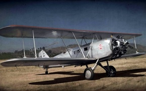 Картинка стиль, фон, самолёт, Boeing 40C
