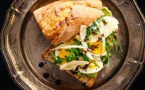 Картинка еда, яйца, сыр, тарелка, булочка, руккола