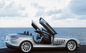 Картинка море, авто, крылья, двери