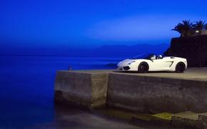Обои море, синий, Вечер, Lamborghini