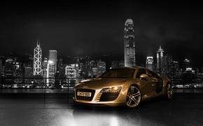 Обои машина, авто, audi r8, gold