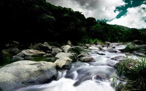 Обои река, камни, течение