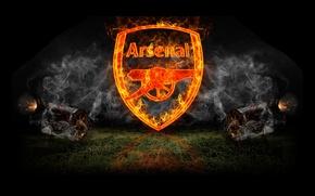 Обои огонь, дым, логотип, пушки, арт, эмблема, art, арсенал, Arsenal, Football Club, канониры, The Gunners, футбольный ...