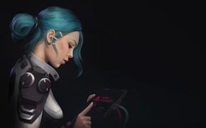 Картинка девушка, фантастика, провода, арт, устройство, костюм, профиль, sci-fi