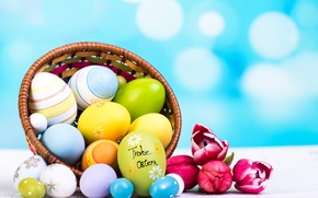 Обои цветы, яйца, весна, Пасха, тюльпаны, flowers, tulips, spring, Easter, eggs, decoration, Happy