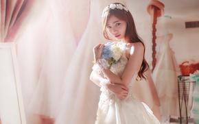 Картинка девушка, цветы, азиатка