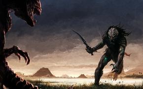 Картинка поле, трава, меч, чужой, пирамиды, против, хищника, aliens vs. predator
