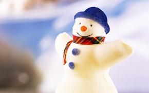 Обои снеговик, игрушки, рождество, новый год