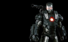 Картинка cinema, metal, gun, soldier, armor, weapon, Iron Man 2, power, Iron Man, Marvel, movie, hero, …
