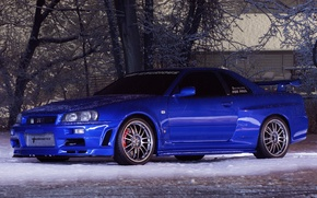 Картинка Nissan, Skyline, snow, GT-R34, Turbonetics