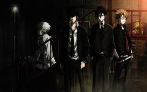 Картинка ночь, очки, костюм, лестница, парни, art, белая рубашка, psycho-pass, психо-паспорт, shougo makishima, shinya kougami, ginoza …