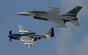 Обои полет, Mustang, истребители, P-51, F-16, Fighting Falcon