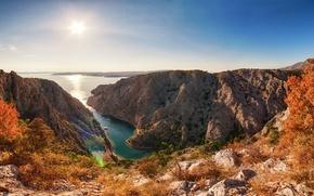 Картинка море, лето, природа, обрыв, скалы, бухта, Хорватия, панорамма