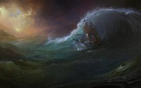 Картинка море, волны, шторм, человек, корабль