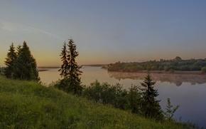 Картинка туман, река, восход, утро