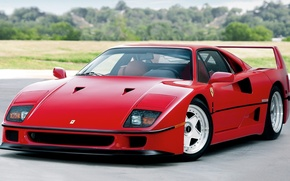 Картинка Красная, Red, Car, Автомобиль, Beautiful, Wallpapers, Automobile, Феррари Ф40, Ferrari F40, Us-Spec