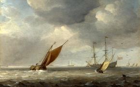 Картинка море, волны, небо, пейзаж, ветер, лодка, корабль, картина, парус