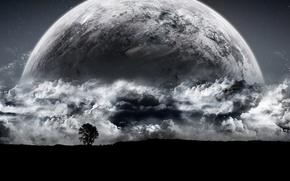 Картинка облака, дерево, планета