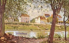 Картинка картина, живопись, painting, Alfred Sisley, 1872, Village on the banks of the Seine