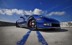 Обои синий, Z06, Corvette, Chevrolet